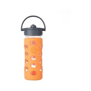 Sklenená fľaša na vodu so silikónovou slamkou a chráničom Lifefactory Orange, 350 ml