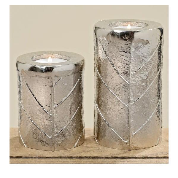 Sada 2 svietnikov Leaf Silver