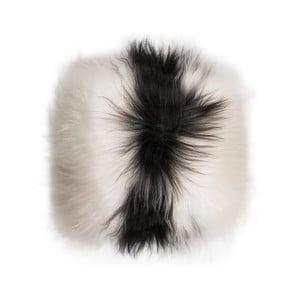 Čierno-biely kožušinový vankúš s dlhým vlasom Spotted, 35x35cm