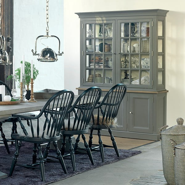 Sivá päťdverová vitrína Canett Royal