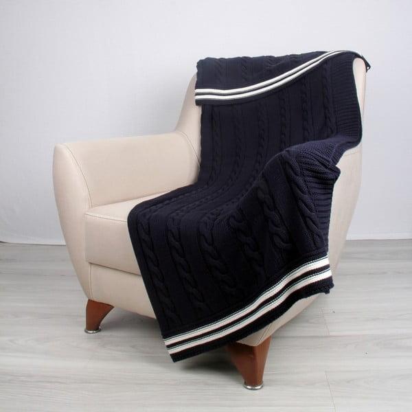 Modrá bavlnená deka Ecru
