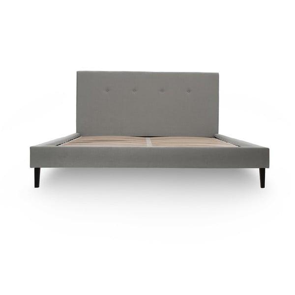 Svetlosivá posteľ VIVONITA Kent 160x200cm, čierne nohy