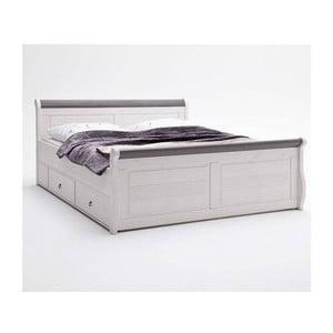 Biela posteľ z borovicového dreva s úložným priestorom SOB Harald Komfort, 140x200cm