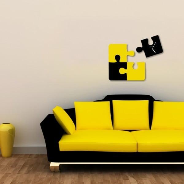 Nástenné hodiny Black Yellow Puzzle