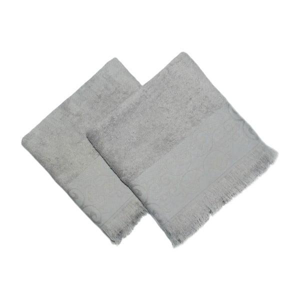 Sada 2 sivých uterákov Sehzade, 90×50 cm