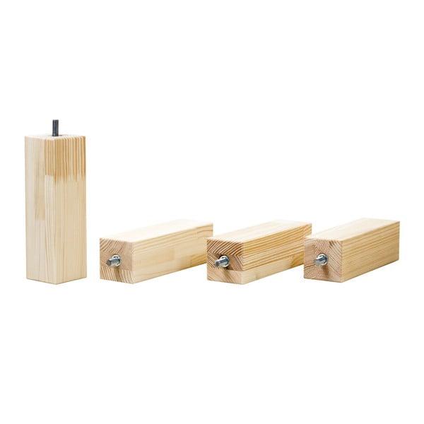 Prírodné prídavné nohy zo smrekového dreva k postieľke Benlemi Foots, výška 20 cm