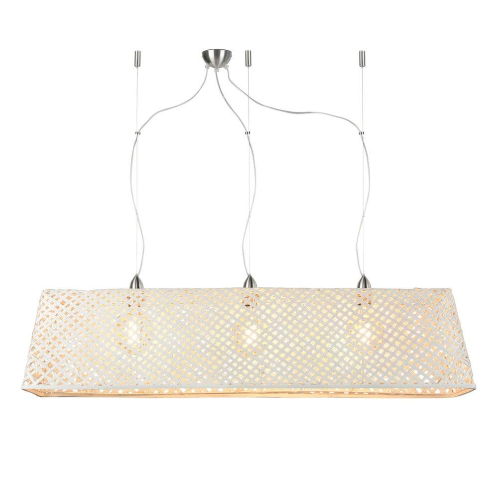 Biele bambusové závesné svietidlo Good&Mojo Komodo