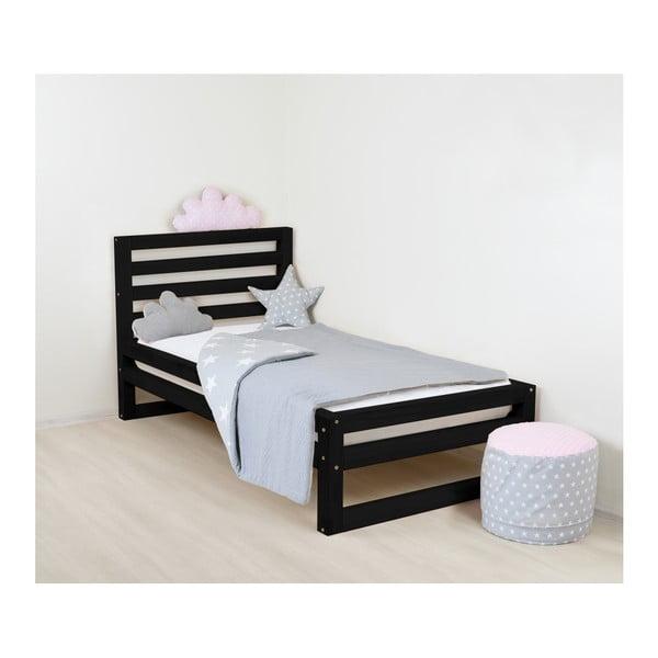 Detská čierna drevená jednolôžková posteľ Benlemi DeLuxe, 180 x 90 cm