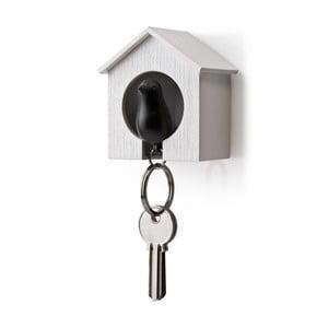 Búdka s kľúčenkou QUALY Sparrow, biela búdka/čierny vtáčik
