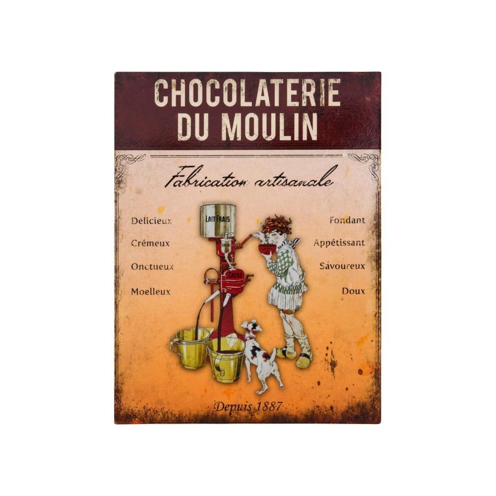 Nástenná kovová dekoratívna ceduľa Antic Line Chocolaterie
