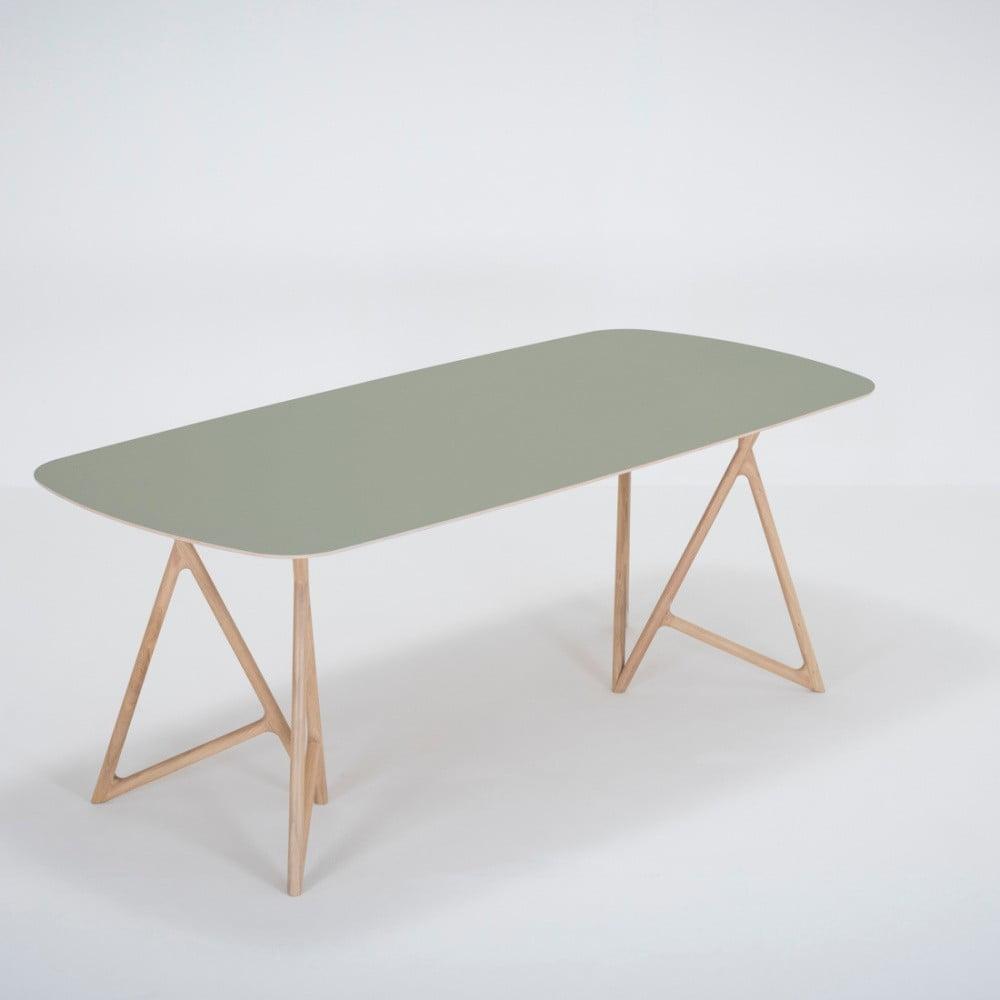 Jedálenský stôl z masívneho dubového dreva so zelenou doskou Gazzda Koza, 200 × 90 cm