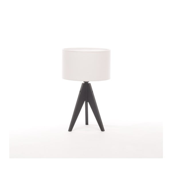 Biela stolová lampa Artist, čierna lakovaná breza, Ø 25 cm