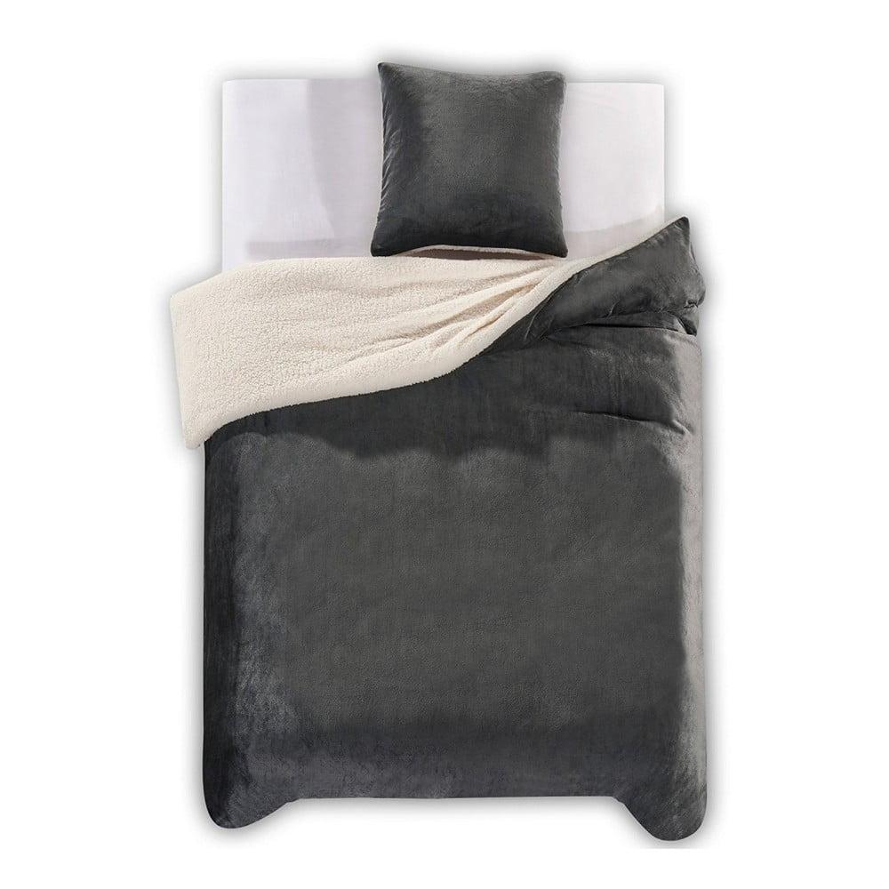Tmavosivé obliečky z mikrovlákna DecoKing Teddy, 200 × 200 cm