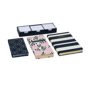 Sada 2 zápisníkov, bloku a lepiacich papierikov Navy Blush