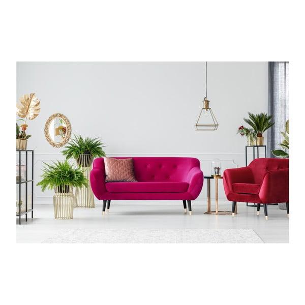 Ružová dvojmiestna pohovka s čiernymi nohami Mazzini Sofas Amelie