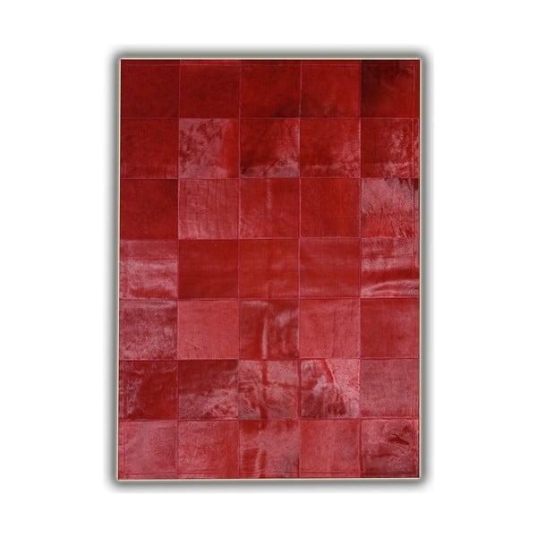 Koberec z pravej kože Plain Red, 140x200 cm