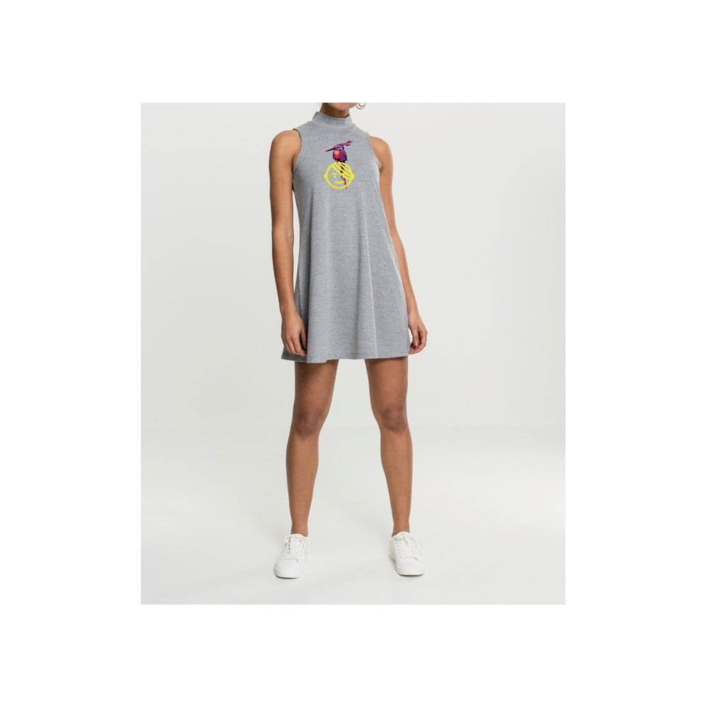 Dámske sivé šaty s motívom Dobrá energia od Dana Bártu & Vladimira 518 pre KlokArt, veľ. S