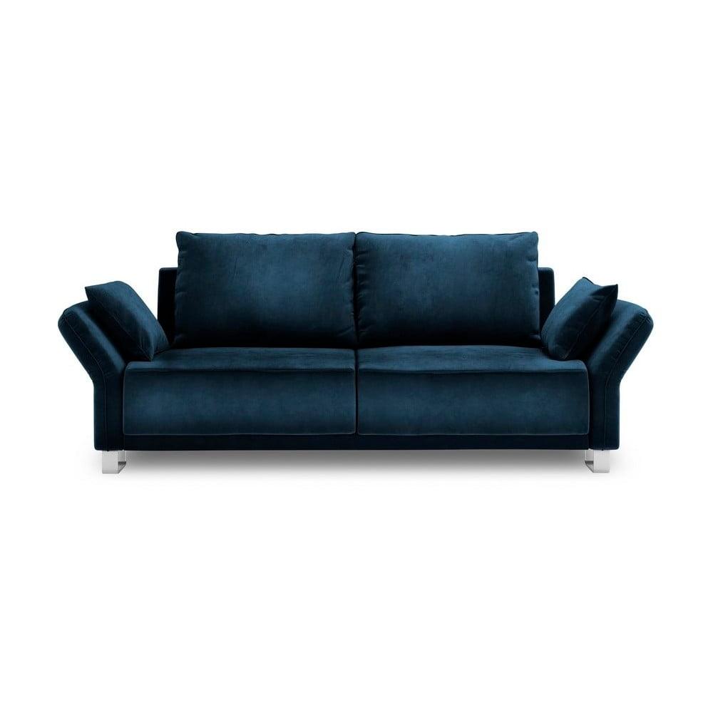 Kráľovskymodrá trojmiestna rozkladacia pohovka so zamatovým poťahom Windsor & Co Sofas Pyxis