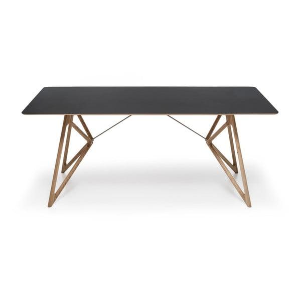 Dubový jedálenský stôl Tink Linoleum Gazzda, 160cm, čierny