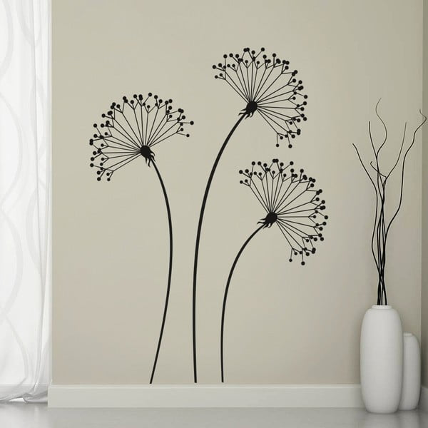 Samolepka na stenu 3 čierne kvety, 70x50 cm