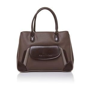 Kožená kabelka do ruky Marta Ponti Pocket, svetlohnedá/tmavohnedá