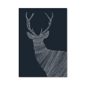 Plagát Stag Blue od Florenta Bodart, 30x42 cm