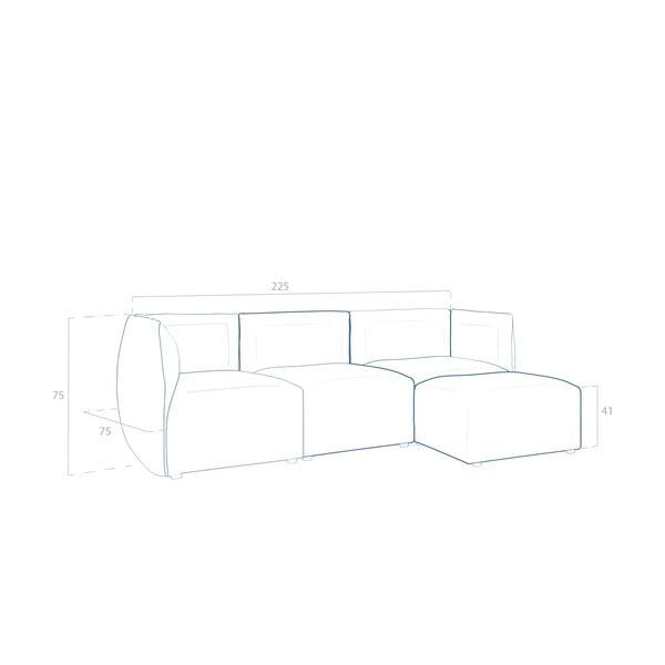 Béžová pohovka pre troch s podnožkou Vivonita Cube Sawana