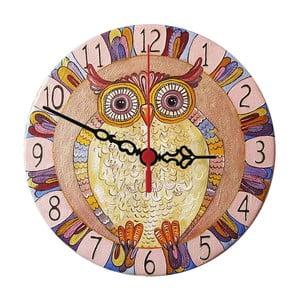 Nástenné hodiny Colorful Owl, 30 cm