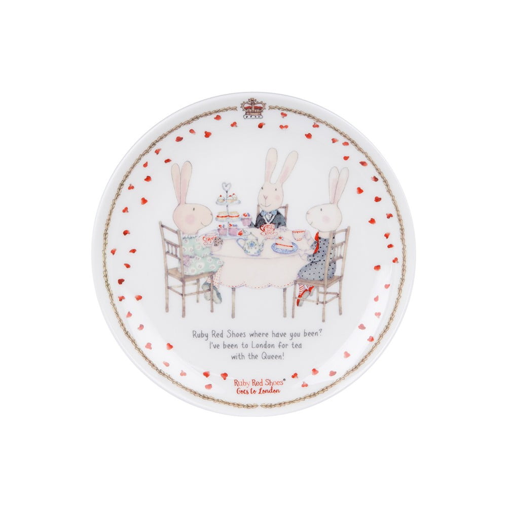 Dezertný tanier z kostného porcelánu Ashdene Ruby Red London Cousins, ⌀ 15 cm