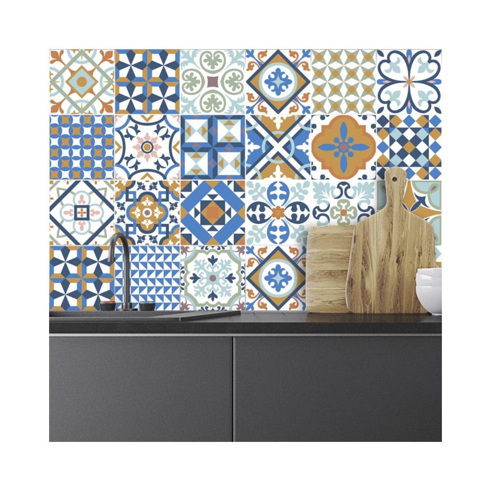 Sada 24 nástenných samolepiek Ambiance Wall Decal Tiles Azulejos Ornaments Mosaic, 15 × 15 cm