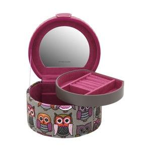 Ružová okrúhla šperkovnica Owlivia