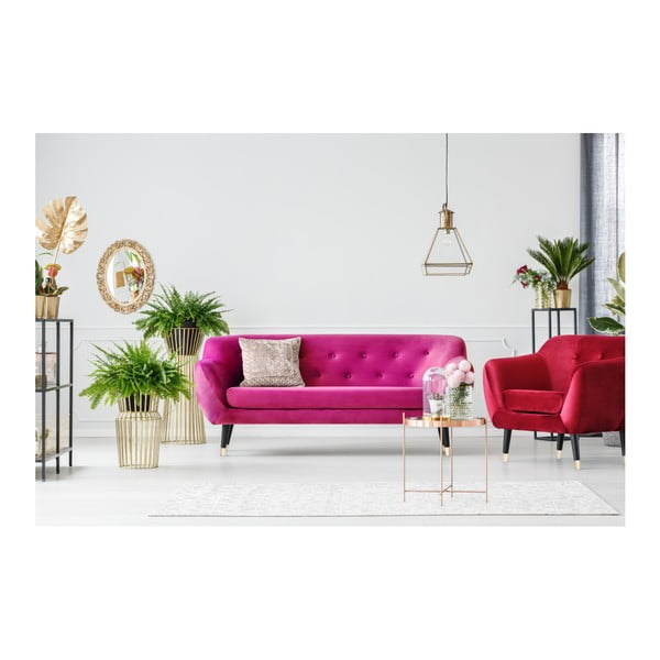 Ružová trojmiestna pohovka s čiernymi nohami Mazzini Sofas Amelie