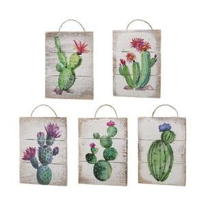 Sada 5 drevených závesných dekorácií s motívmi kaktusov Unimasa