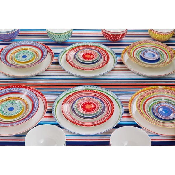 Sada 4 porcelánových tanierov na pizzu Oilily 31 cm, červený okraj