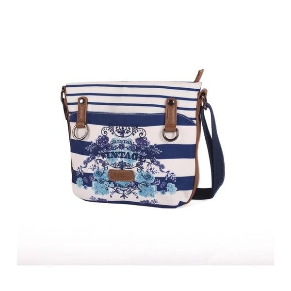 Modro-biela kabelka Lois, 26 x 23 cm