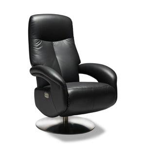 Čierna kožená stolička Furnhouse Bull