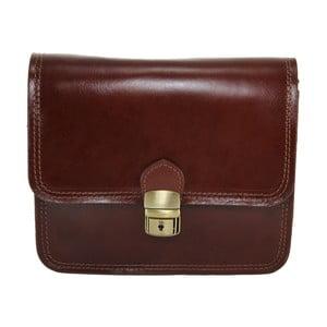 Hnedá kožená listová kabelka Chicca Borse Blanch