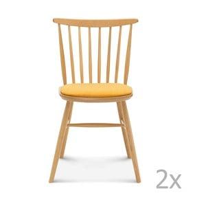 Sada 2 drevených stoličiek so žltým čalúnením Fameg Amleth