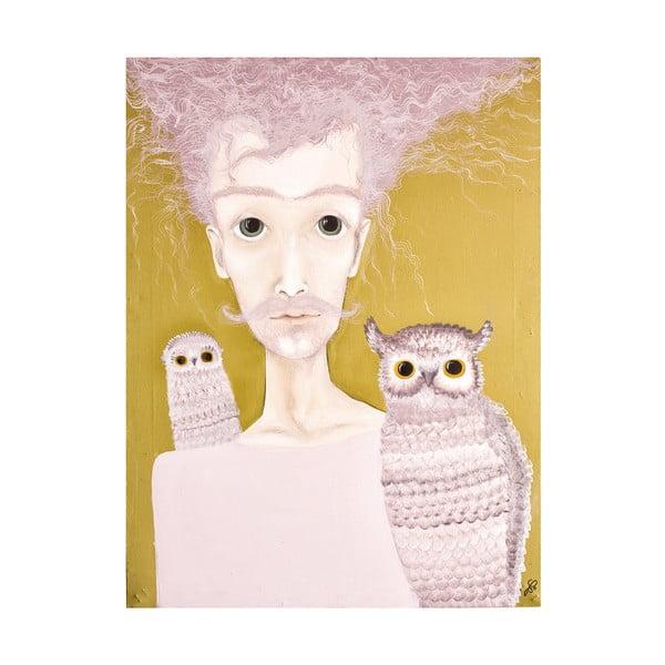 Autorský plagát od Lény Brauner Pán se sovami, 60x70 cm