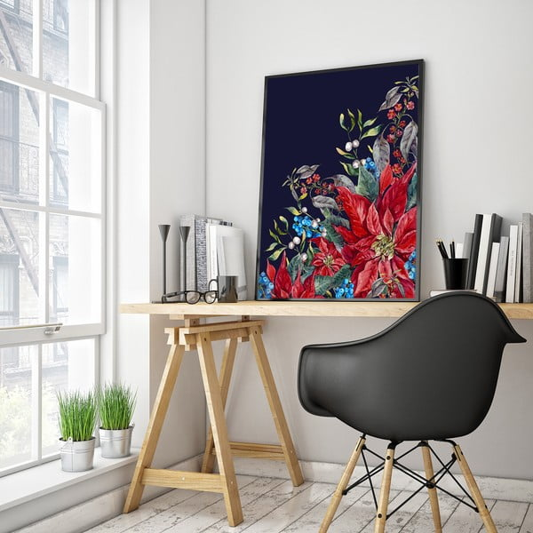 Plagát s kvetmi, čierne pozadie, 30 x 40 cm