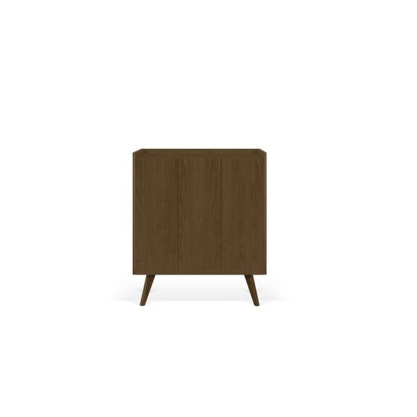 Tmavohnedá komoda s nohami z masívneho dreva TemaHome Mara, 125 × 110 cm