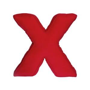 Látkový vankúš X, červený