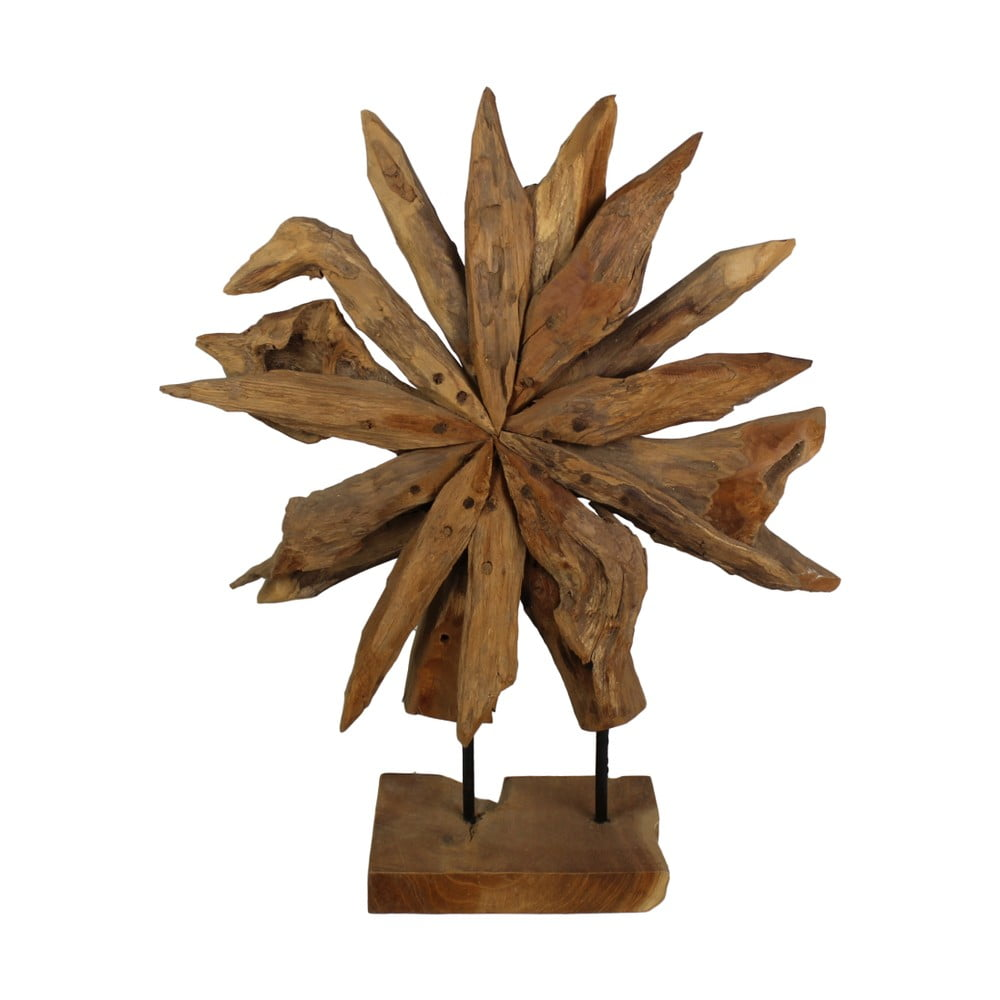 Dekorácia z teakového dreva HSM Collection Sunflower, 40 x 50 cm
