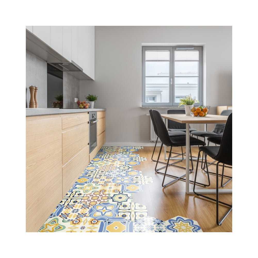 Sada 10 samolepiek na podlahu Ambiance Floor Stickers Hexagons Fionna, 40 × 90 cm