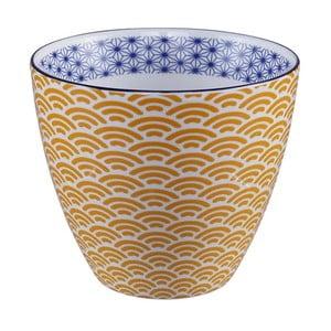 Žlto-biely hrnček na čaj Tokyo Design Studio Star/Wave, 350 ml