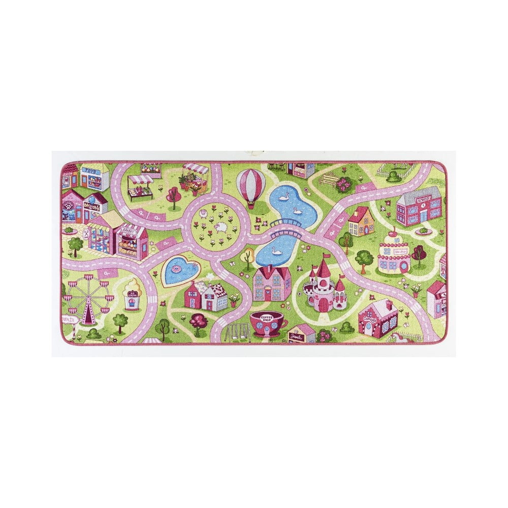 Detský koberec s ružovými detailmi Hanse Home City, 200 × 300 cm
