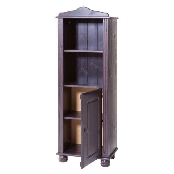 Tmavohnedá knižnica z masívneho borovicového dreva s dvierkami Støraa Ella
