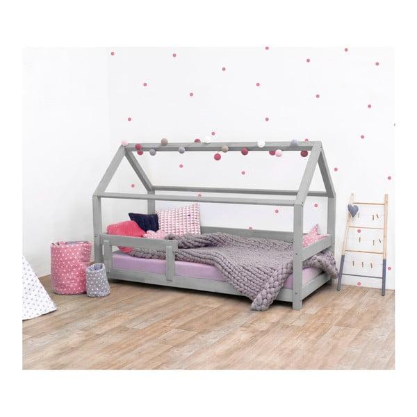 Sivá detská posteľ s bočnicami zo smrekového dreva Benlemi Tery, 80×190 cm