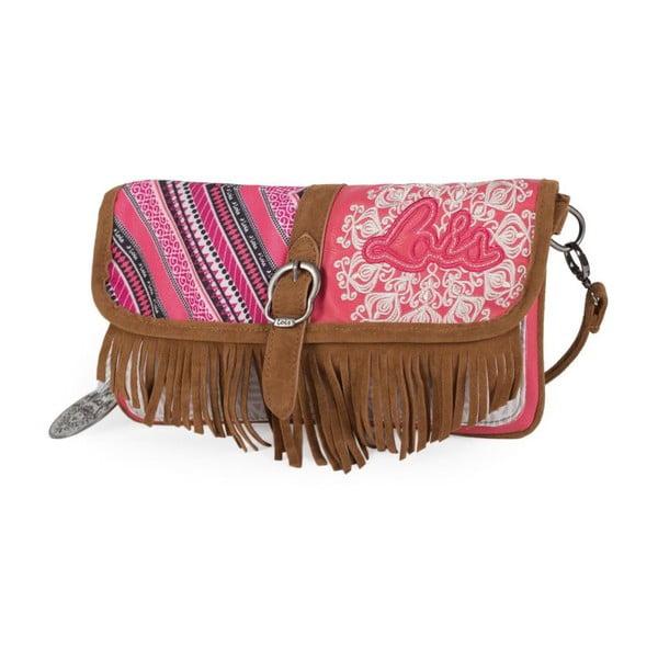 Ružovo-biela kabelka so strapcami Lois, 30 x 16 cm