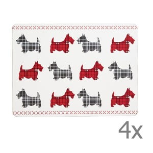Sada 4 prestieraní Traditional Scottie Dog